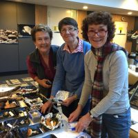Winsome, Maree and Pam with the impressive fungi display at the University Habitat Hike